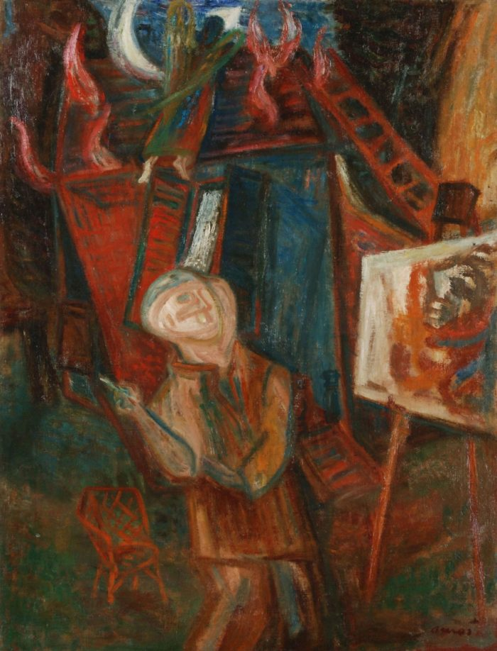 Imre Ámos: The Painter in front of a Burning House, after 1940