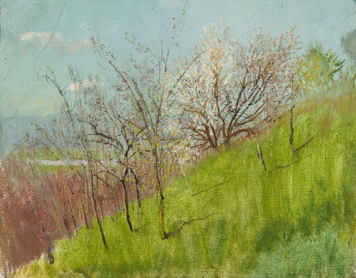 László Mednyánszky: Spring Hillside, first half of the 1890s