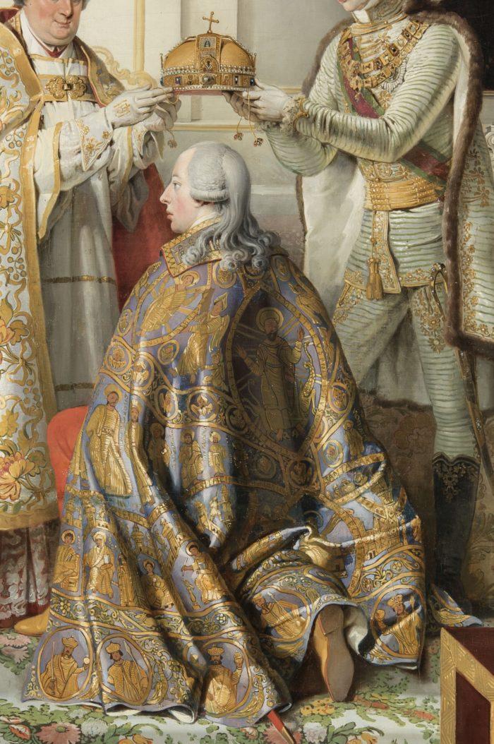 Peter Krafft, The Coronation of Francis I, 1825 – the coronation mantle of Saint Stephen